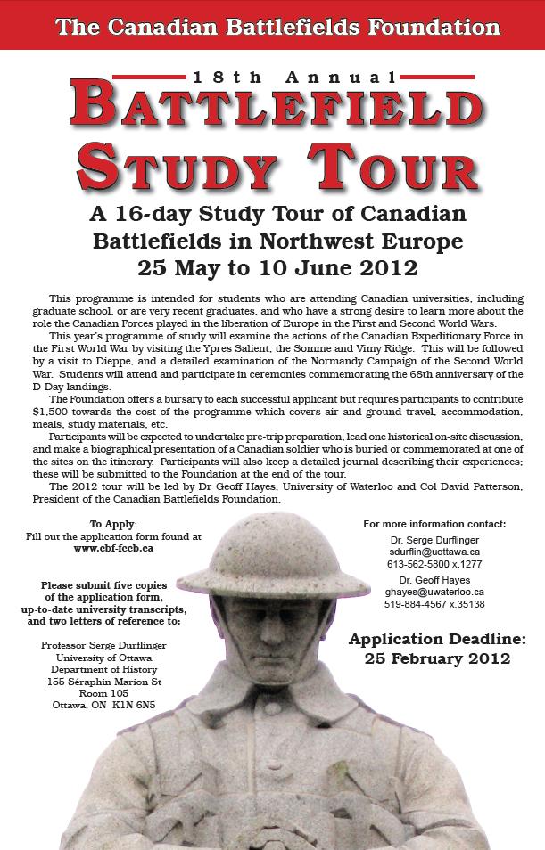 Canadian Battlefields Foundation Study Tour 2012