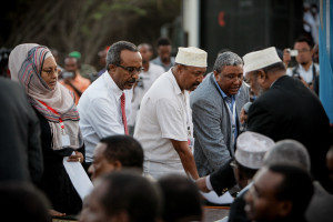 Members of Somalia's first parliament in twenty years were sworn in at an open-air ceremony at Mogadishu International Airport, 20 August 2012.