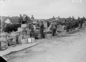 British soldiers draw their units' daily rations from an Army Service Corps supply dump in June 1916.