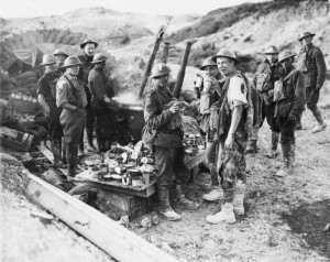 Canadian soldiers receive their rations during the Battle of Hill 70 in August 1917.