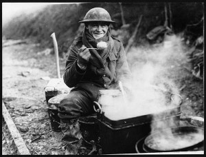 A welcome treat: A British soldier on the Western Front enjoying a hot meal.