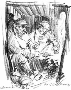 A 1917 sketch of two British soldiers cooking their rations and warming their hands over a small fire in their dugout.