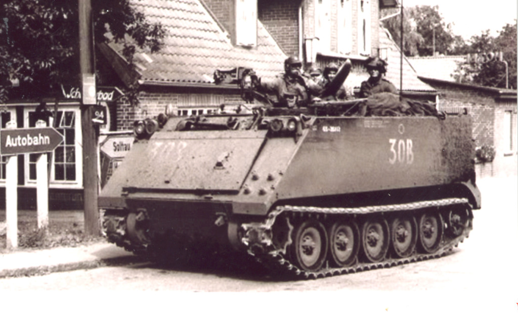 An M113 armoured personnel carrier. Burke and his fellow pioneers used these to transport themselves and their equipment, and became proficient at hiding them in villages and forests. While in towns, they would frequently trade their rations of chocolate for fresh food, normally eggs.