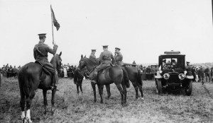 His Majesty The King George V reviews Canadians at Aldershot, [England]. Dominion day, 1916.
