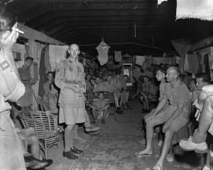 Canadian and British prisoners-of-war liberated by the landing party from H.M.C.S. PRINCE ROBERT, Hong Kong, ca. 30 August 1945.