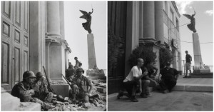 Recreation of Robert Capa's iconic 1943 shot at Troina
