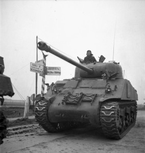 A Sherman Firefly tank of the Fort Garry Horse near the Beveland Canal, Netherlands, ca. 29 Oct. 1944