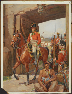Isaac Brock entering Queenston, 1812