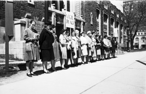 Voice of Women Peace Vigil in front of the Royal Ontario Museum, Toronto, 1963.